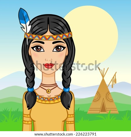 Beautiful girl in a suit of the North American Indian on a wigwam background. - stock vector