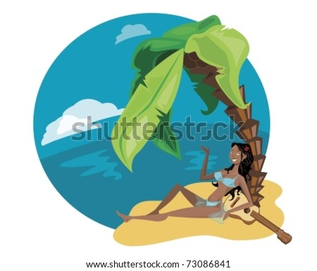beautiful girl in the island - stock vector