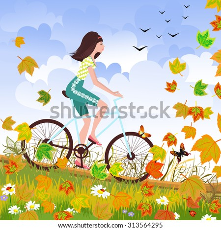Beautiful girl is riding on a bicycle in a autumn forest. - stock vector