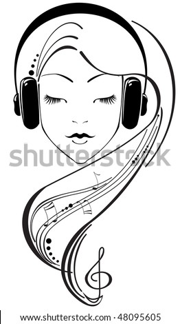 Beautiful girl listening to headphones - stock vector