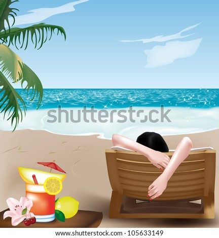 Beautiful girl lying on deckchair on the beach with fruit cocktail - stock vector