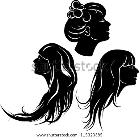Beautiful girl profile  with different hair dresses, set of stencil - stock vector