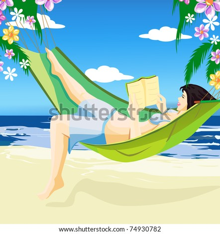 Beautiful girl reading book in hammock on the beach - stock vector