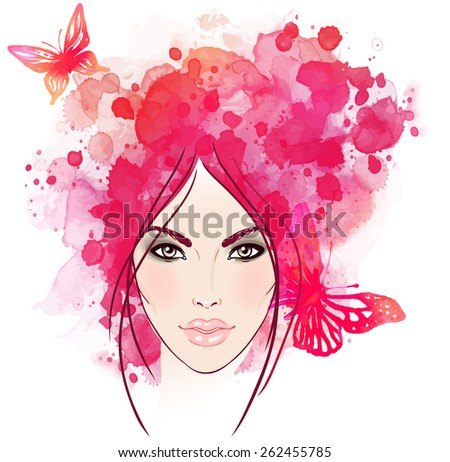 Beautiful girl's face with butterflies in her hair. Watercolor illustration in vector - stock vector