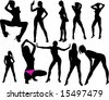 beautiful girl silhouettes - stock vector