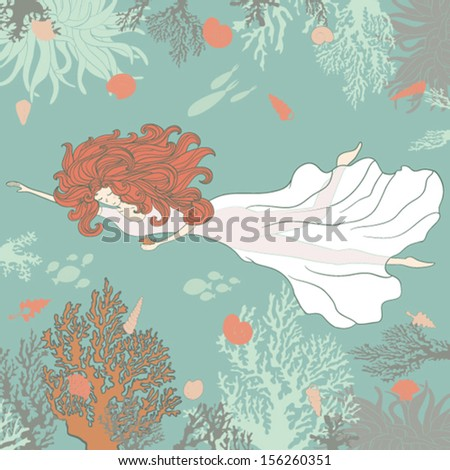 Beautiful girl swimming in deep sea surrounded by corals, shells and sea life. Cute mermaid with red hair. - stock vector