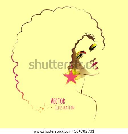Beautiful girl. Vector illustration. - stock vector