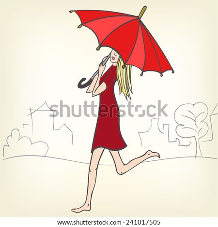 Beautiful girl walking barefoot in the street wearing red dress and big red umbrella. - stock vector