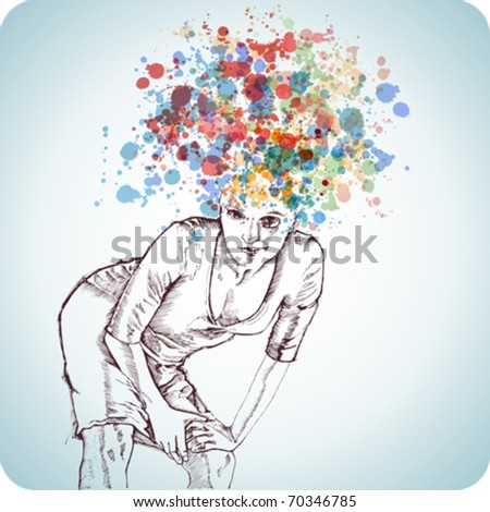 Beautiful girl with a crazy hairdo of spray color paint - stock vector