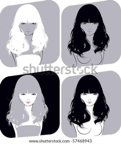 beautiful girl with a flowing hair - stock vector