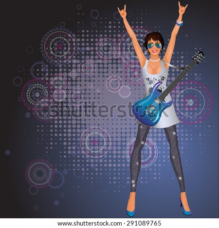 Beautiful girl with a guitar. Vector illustration