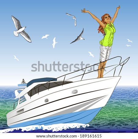 beautiful girl with arms outstretched on yacht deck  - stock vector