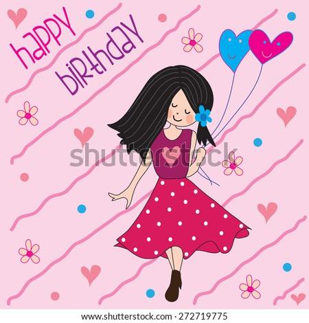 beautiful girl with balloons and flowers happy birthday with an inscription vector illustration - stock vector