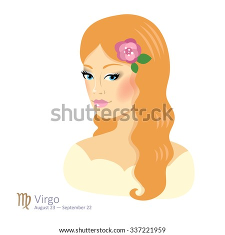 Beautiful girl with blonde curly hair - virgo. Sign of the zodiac. Horoscope. Astrology. Vector isolated illustration. Cartoon characters. Sign of the zodiac. - stock vector