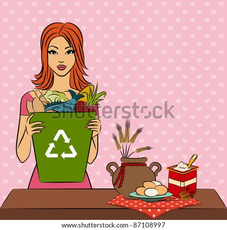 Beautiful girl with healthy meal ingredients. Vector