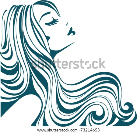 Beautiful girl with long thick wavy hair. Beauty salon icon. Vector illustration - stock vector