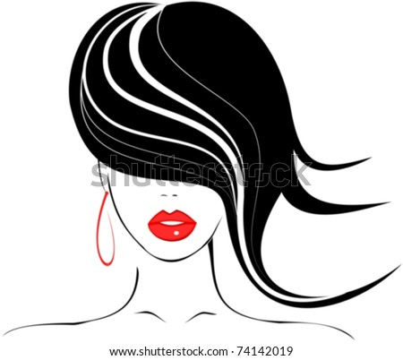 Beautiful girl with red lips hairstyle icon - stock vector
