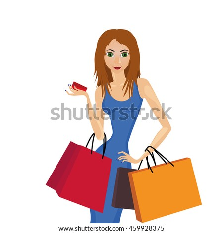 beautiful girl with slender waist and bags ready for shopping