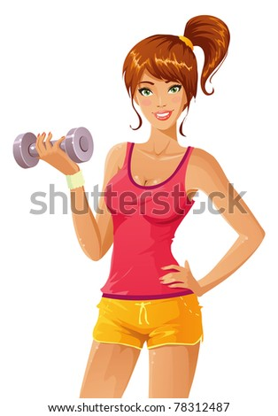Beautiful girl working out with dumb-bell - stock vector