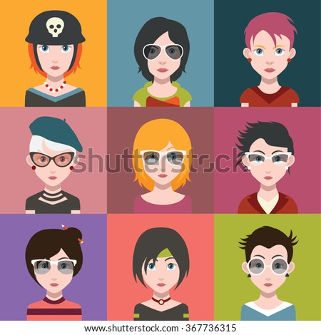 Beautiful Girls, With Hairstyle - stock vector
