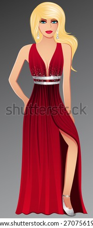 Beautiful Glamorous Woman Vector - stock vector