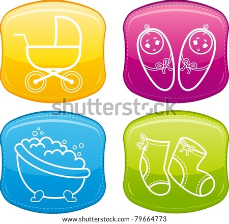 Beautiful glossy buttons - Baby icons. Vector - stock vector