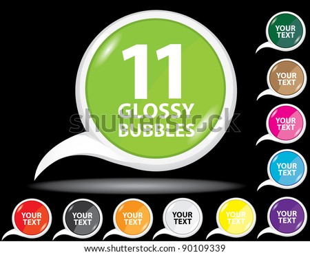 Beautiful glossy color bubble speech and label collection. Vector illustration. - stock vector