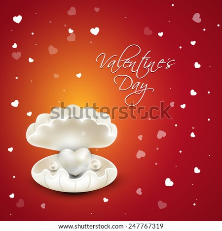 Beautiful glossy heart with pearls in a shell on hearts decorated background for Happy Valentines Day celebration. - stock vector