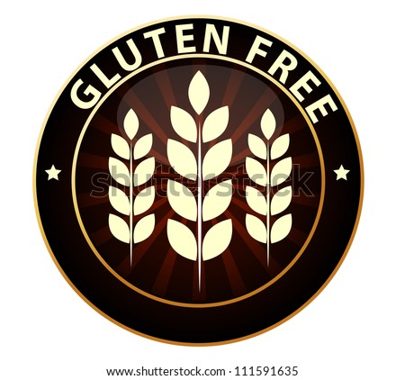 Beautiful Gluten free food packaging sign. Can be used as a stamp, emblem, seal, badge etc. Isolated on a white background. - stock vector