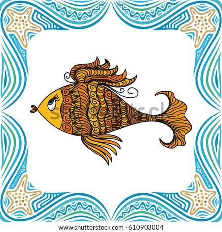 Beautiful Gold Fish Sea Frame Vector Stock Vector 610903004 ...