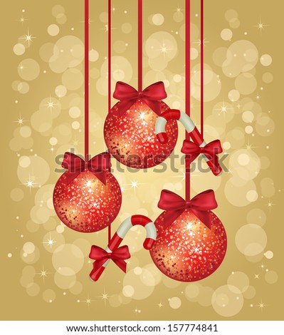 Red sparkle background with snowflakes christmas balls golden bells