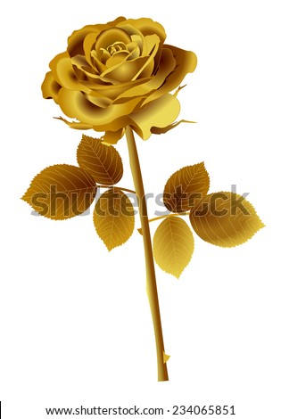 Beautiful Gold Rose Flower With Petals Stem Leaves And Thorns 3d Golden Color