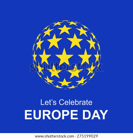 beautiful gold star globe circle set. Let's celebrate Europe day. 9 May European union vintage badge label, banner template blue background. Europe Flag paper design, vector illustration. - stock vector