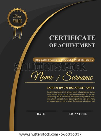Beautiful golden certificate achivement template diploma stock beautiful golden certificate of achivement template or diploma blank elegant business template vector illustration yelopaper Images