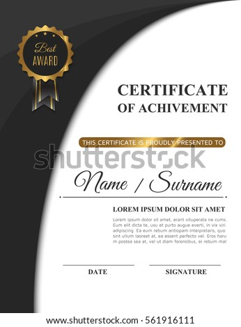 Beautiful Golden Certificate Achivement Template Matte Stock ...