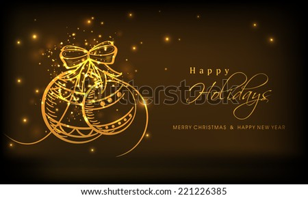 Beautiful golden christmas balls on stars decorated brown background for Merry Christmas, New Year and Happy Holidays celebrations. - stock vector