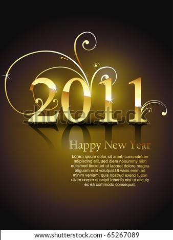 beautiful golden color vector new year design art - stock vector