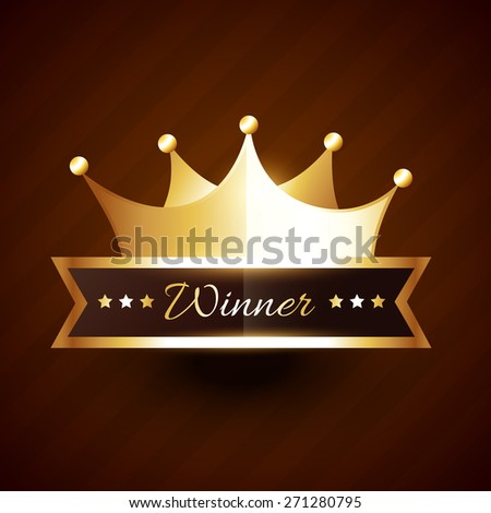 beautiful golden crown design with winner text vector illustration - stock vector