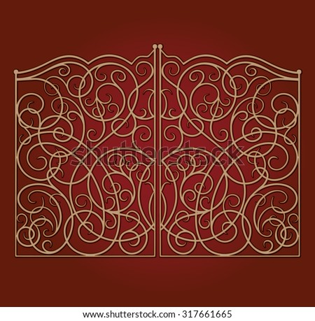 Beautiful golden ornamented gate on dark red gradient background - stock vector