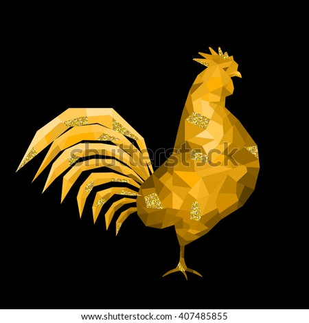 Beautiful golden polygon rooster with glittering elements on black background. Vector illustration for your graphic design.