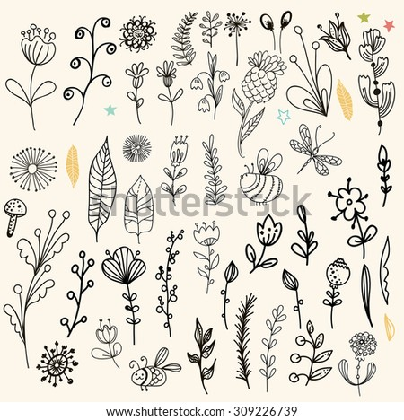Beautiful graphic flower set for design, doodle floral elements, Vector - stock vector