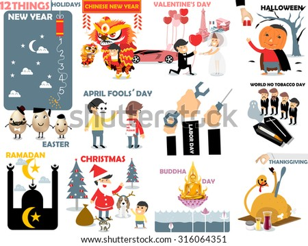 beautiful graphic of international holidays: new year,chinese new year,valentine's day,halloween,easter,april fools' day,labor,world no tobacco,ramadan,christmas,buddha day,thanksgiving