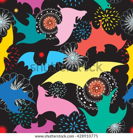 Beautiful graphic pattern with colorful silhouettes of bats