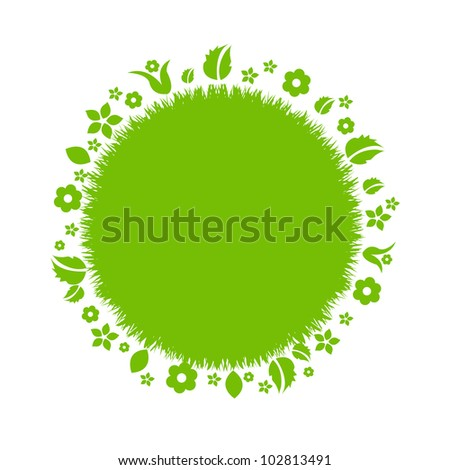 Beautiful Green Earth With Leaves And Flowers, Isolated On White Background, Vector Illustration - stock vector