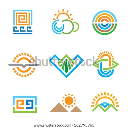 Beautiful green geometric nature modern retro symbols for business logo social and icon set - stock vector