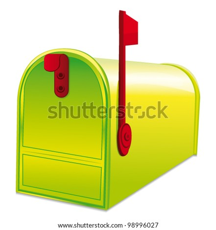 Beautiful Green Metallic Closed Mailbox Vector Stock Vector 98996027