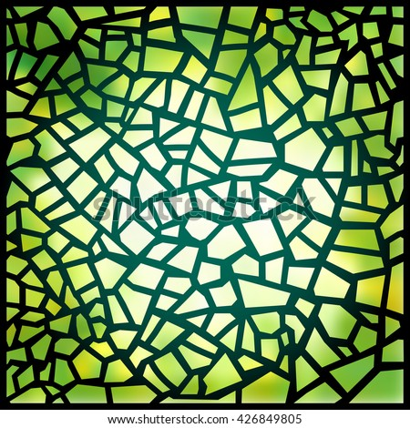 Beautiful green stained-glass window. Vector illustration. Magic square background. Suns rays penetrating through a green colorful stained glass window. Luminous glass. Pattern mosaic. - stock vector
