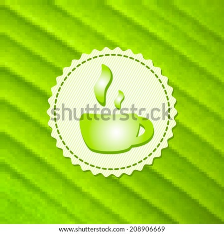 Beautiful green tea cup on stylish mosaic background. Vector illustration. Menu for restaurant, cafe, bar, coffeehouse. Eco style.  - stock vector