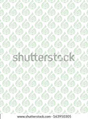 beautiful green Thai pattern seem floral, fern, leaves, lotus and fire pattern on white background for page and ground-paper - stock vector
