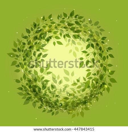 Beautiful green wreath of stylized branches with leaves